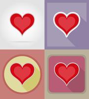 Vektorikonen der flachen Karte des Herzkartenanzugs Kasinos