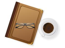 koppar kaffe och med glasögon