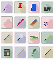 Ikonen-Vektorillustration der Schreibwarenausrüstung flache eingestellt