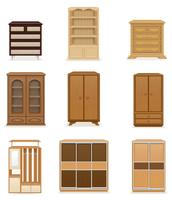 set ikoner möbler garderob skåp och kommodon vektor illustration