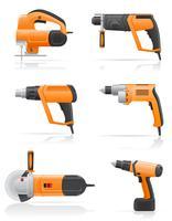 eingestellte Ikonenvektorillustration der elektrischen Werkzeuge