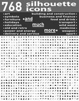 768 olika sätta silhuett ikoner och symboler vektor illustration