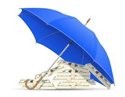 Konzept der geschützten und versicherten Dollarregenvektorillustration