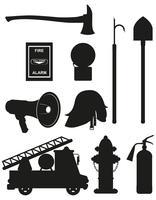 stellen Sie Ikonen der schwarzen Schattenbild-Vektorillustration der Brandbekämpfungsausrüstung ein