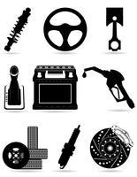 stellen Sie Ikonen der schwarzen Schattenbild-Vektorillustration der Autoteile ein