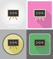 trä skolbräda plana ikoner vektor illustration