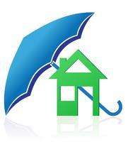 Haus mit Regenschirmkonzept-Vektorillustration
