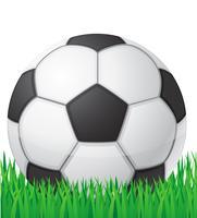 Fußballfußball in der Grashintergrund-Vektorillustration