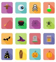 halloween platt ikoner vektor illustration