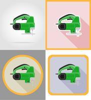 Elektrische Sägehilfsmittel für Bau und Reparatur flache Ikonen vector Illustration