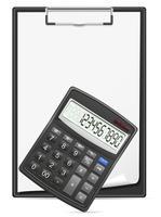 Taschenrechner-Klemmbrett und leeres Blatt Papierkonzeptvektorillustration