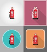röd bensin fyllning platt ikoner vektor illustration