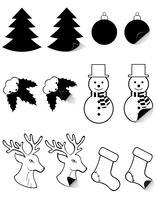 ikoner etiketter för jul och nytt år svart silhuett vektor illustration