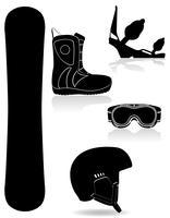 Stellen Sie Ikonenausrüstung für die schwarze Schattenbildvektorillustration des Snowboarding ein
