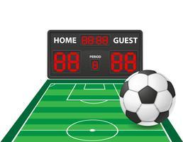 Fußballfußball trägt digitale Anzeigetafelvektorillustration zur Schau