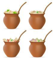 dumplings av deg med en fyllning och gröna i lera kruk uppsättning ikoner vektor illustration