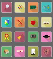 Ikonen der Vektorillustration der Schulbildung flache