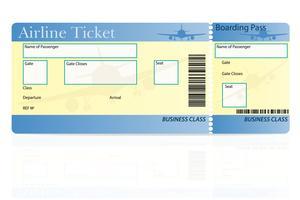 flygbiljett affärsklass vektor illustration