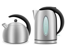 elektrische und Wasserkocher für Gasherd Vektor-Illustration