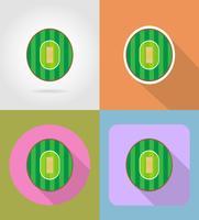lekplats för cricket platt ikoner vektor illustration