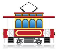 alte Retro-Straßenbahn-Vektor-Illustration