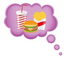 Konzept des Traums eines Lebensmittels in der Wolkenvektorillustration