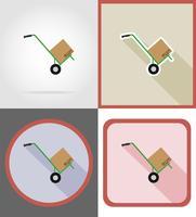 leverans platta ikoner vektor illustration