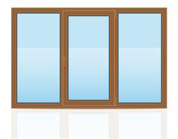 braune transparente Fensterplastikfenster zuhause Vektorillustration vektor