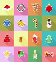 jul och nytt år platt ikoner vektor illustration