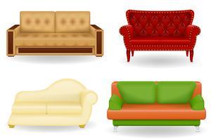 set ikoner möbler soffa vektor illustration