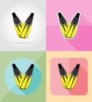 flippers för dykning platt ikoner vektor illustration