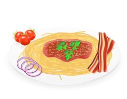 Teigwaren auf einer Platte mit Gemüsevektorillustration