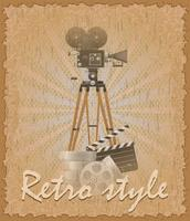 retro stil affisch gammal filmkamera vektor illustration
