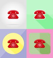 Ikonen-Vektorillustration des Telefonservices flache vektor