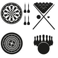 Ikone von Spielen für Freizeitschwarzschattenbild-Vektorillustration