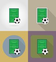 Flache Ikonen des Fußballfußballstadiun-Feldes vector Illustration