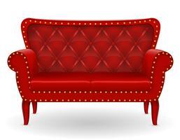 röd soffa möbler vektor illustration