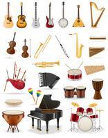 Vektorillustration der eingestellten Ikonen der Musikinstrumente auf Lager
