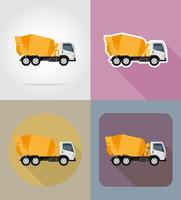 lastbil betongblandare för konstruktion platt ikoner vektor illustration