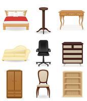 Stellen Sie Ikonenmöbel-Vektorillustration ein