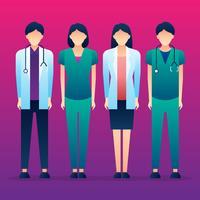 Medizinische Charaktere, die zusammen stehen
