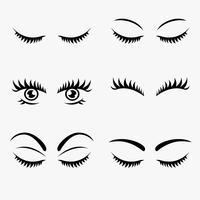 Vackra ögonfransar Clipart Set