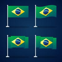 Brasilien Flagg Vector Element Set