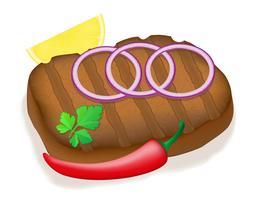 gegrilltes Steak mit Gemüsevektorillustration