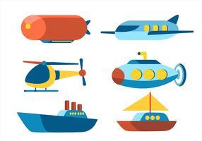 Flyg och vatten transport Clipart Set vektor