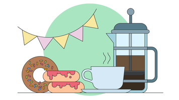Kaffee und Schaumgummiringe-Shop-Vektor vektor