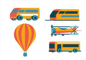 Transport Clipart Set mit fünf Fahrzeugen