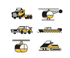 Transport-Clipart-Satz in dicken Linien vektor