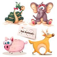 Orm, elefant, gris, hjort - uppsättning elefant. vektor