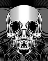 Schädel mit respirator.vector Handzeichnung